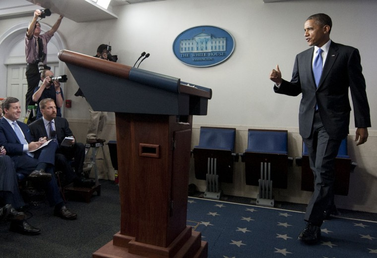 US President Barack Obama arrives to speak about the government shutdown and debt ceiling standoff in the Brady Press Briefing Room of the White House in Washington, DC, October 16, 2013. AFP PHOTO / Saul LOEBSAUL LOEB/AFP/Getty Images ORG XMIT: