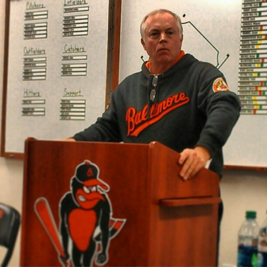 Buck Showalter addresses the media before the start of spring training on Feb. 12, 2013.