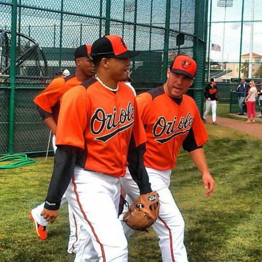 Jair Jurrjens and Tommy Hunter are pictured during spring training on Feb. 16, 2013.