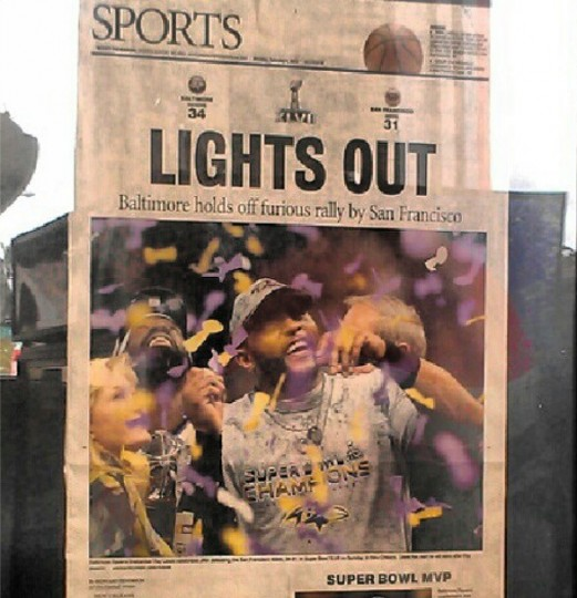 The Sarasota Herald-Tribune's take on the Ravens' Super Bowl championship.