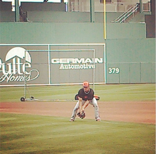 Brian Roberts fields grounders in Sarasota on March 19, 2013.