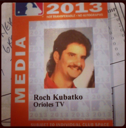 A throwback media credential for MASN beat writer Roch Kubatko, pictured on March 21, 2013.