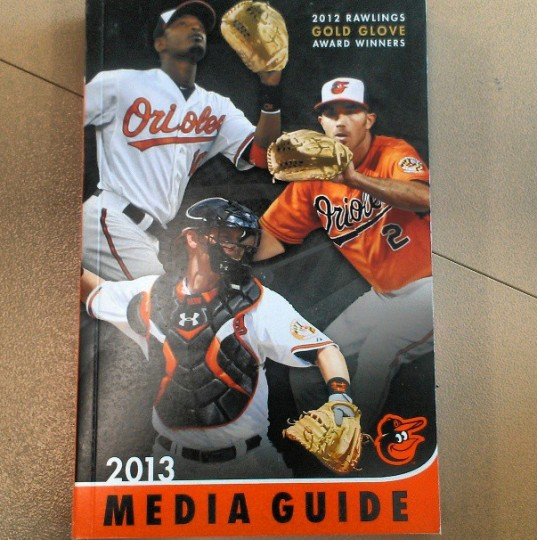 The Orioles 2013 media guide is released on March 29, 2013.