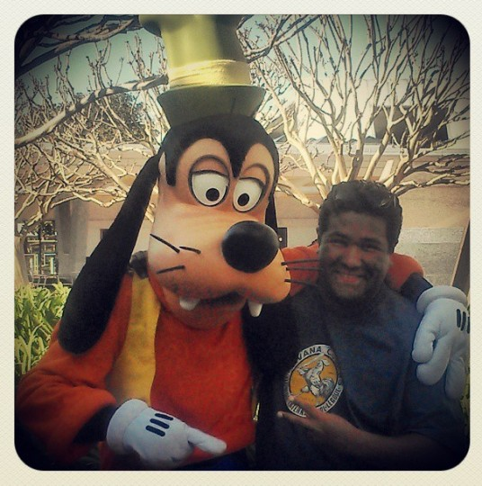 Posing with Goofy at Epcot in Orlando on March 7, 2013.