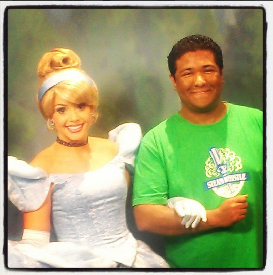 Posing with Cinderella at Disneyland in Anaheim on May 11, 2013.