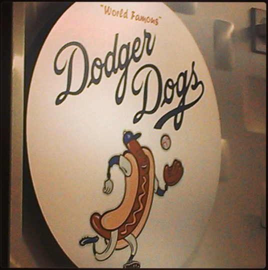 Trying a Dodger Dog in Los Angeles on May 1, 2013.