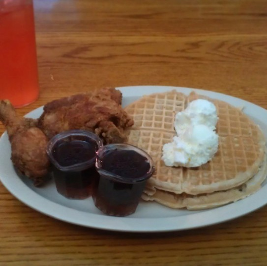 Eating at Roscoe's House of Chicken and Waffles in Los Angeles on May 1, 2013.