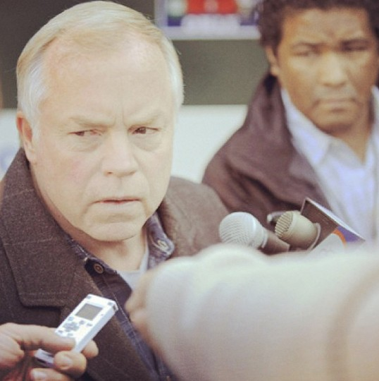 Buck Showalter faces the media on his 57th birthday on May 23, 2013.