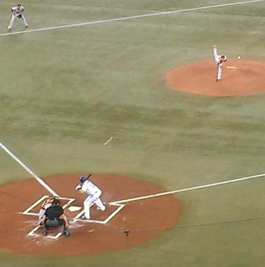 Kevin Gausman delivers his first major league pitch on May 23, 2013.