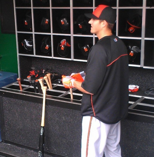 Kevin Gausman gets ready to take batting practice at Nationals Park on May 28, 2013.