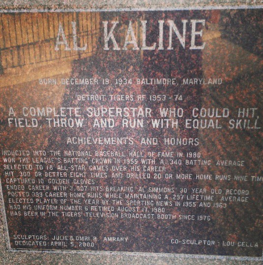 A plaque honoring Baltimore native and former Tigers star Al Kaline is displayed in Detroit on June 19, 2013.