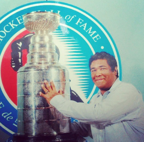 Touching the Stanley Cup at the Hockey Hall of Fame in Toronto on June 21, 2013.