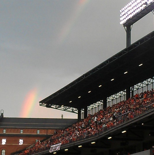 A rainbow appears at Camden Yards on June 28, 2013.