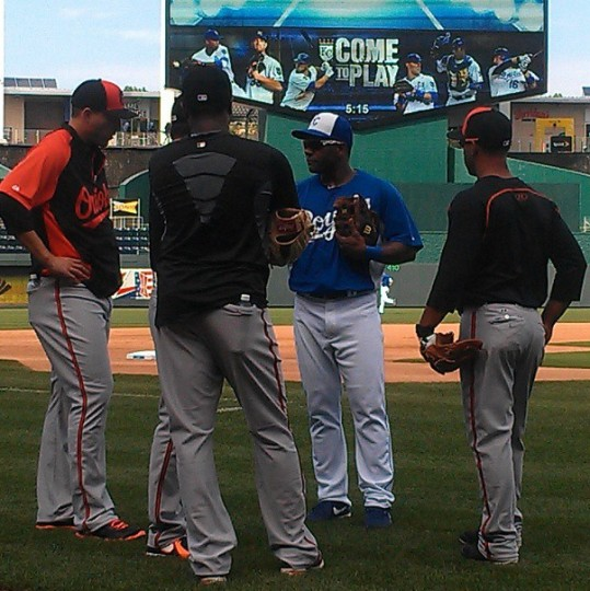 The Royals' Miguel Tejada greets former Orioles teammates in Kansas City on July 22, 2013.