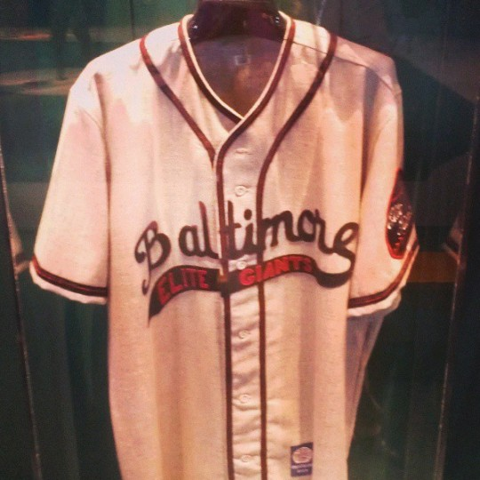 A Baltimore Elite Giants jersey on display at the Negro Leagues Museum in Kansas City on July 24, 2013.