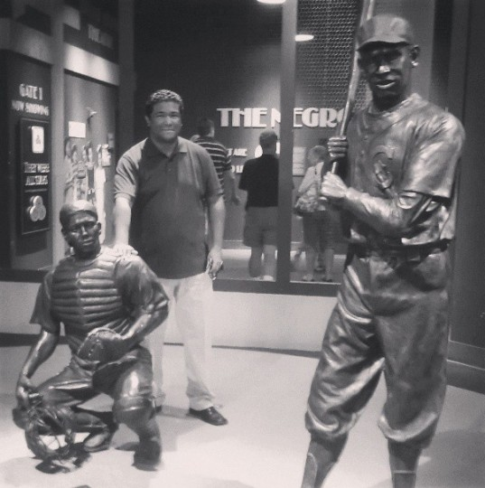 Standing behind a statue of Josh Gibson at the Negro Leagues Museum in Kansas City on July 24, 2013.