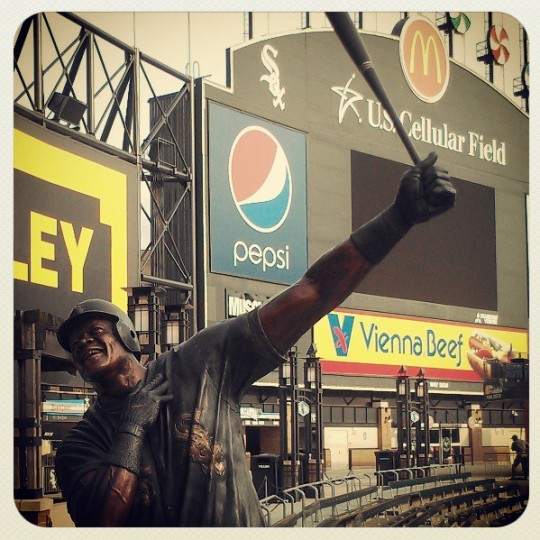 A sculpture of Frank Thomas in Chicago is pictured on July 4, 2013.