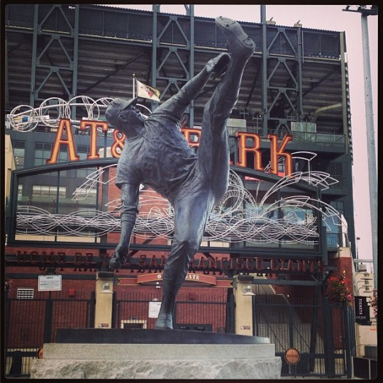 A statue of Juan Marichal is pictured at AT&T Park in San Francisco on Aug. 10, 2013.