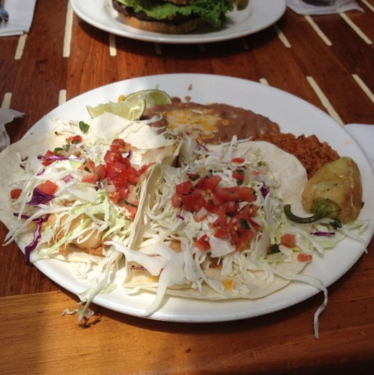 Enjoying fish tacos in San Diego on Aug. 5, 2013.