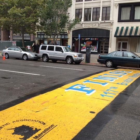 The finish line of the Boston Marathon, pictured on Sept. 16, 2013.