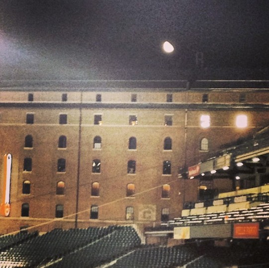 View of a full moon over the warehouse at Camden Yards on Sept. 25, 2013.