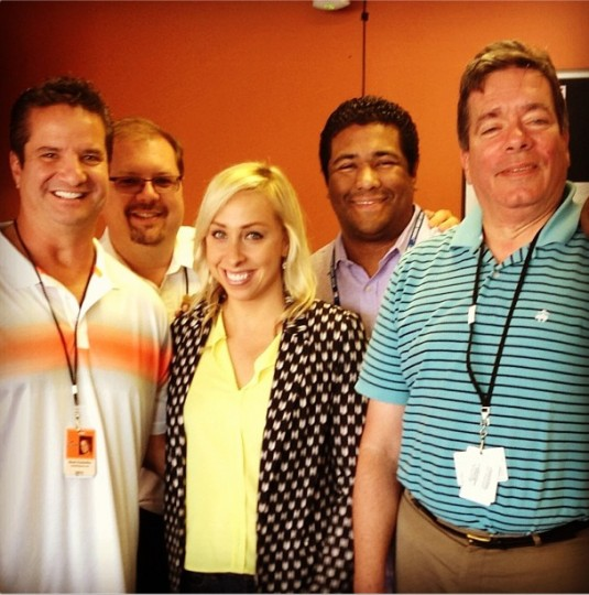 Bidding farewell to Orioles beat writers Roch Kubatko (MASN), Dan Connolly, Britt Ghiroli (MLB.com) and Rich Dubroff (Comcast) on Sept. 29, 2013.