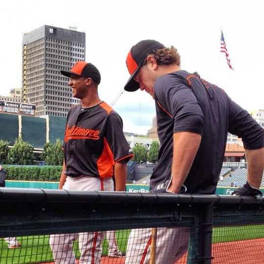 Jonathan Schoop prepares for his first major league game in Cleveland on Sept. 3, 2013.