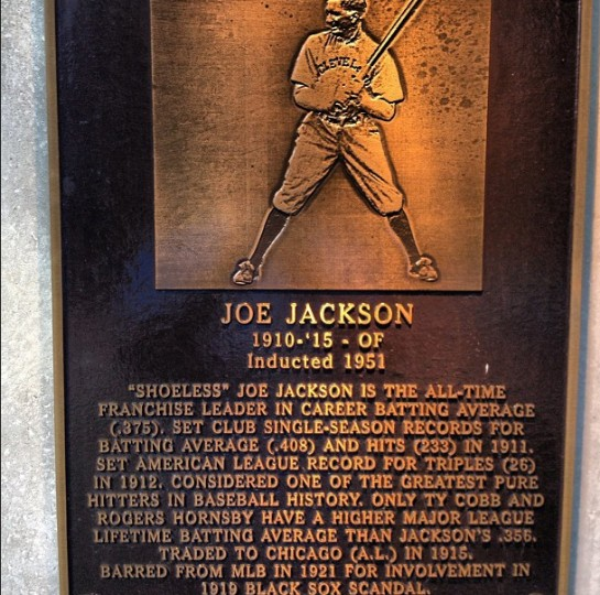 A plaque of Shoeless Joe Jackson is pictured in Cleveland on Sept. 5, 2013.