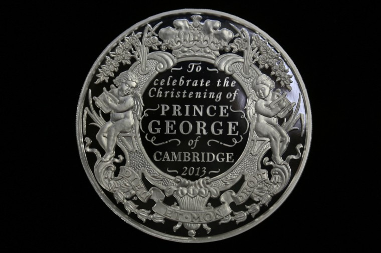 Ahead of the christening of Prince George of Cambridge at St James Palace tomorrow afternoon, The Royal Mint have produced a coin to celebrate the Christening Of Prince George. (Matt Cardy/Getty Images)Ahead of the christening of Prince George of Cambridge at St James Palace tomorrow afternoon, The Royal Mint have produced a coin to celebrate the Christening Of Prince George. (Matt Cardy/Getty Images)