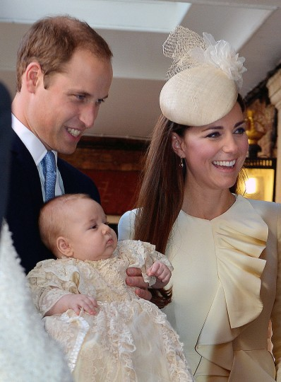 Prince William, Duke of Cambridge and Catherine, Duchess of Cambridge talk to Queen Elizabeth II (not pictured) as they arrive, holding their son Prince George, at Chapel Royal in St James's Palace, ahead of the christening of the three month-old Prince George of Cambridge by the Archbishop of Canterbury. (Pool/Getty Images)