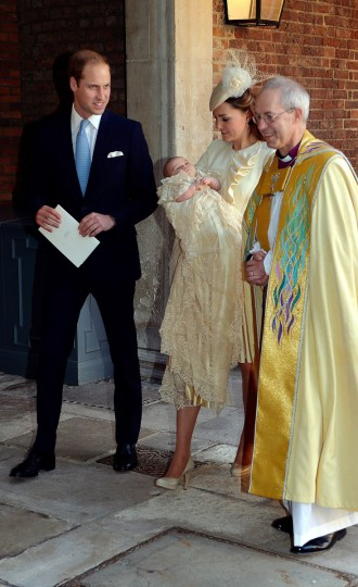 Catherine, Duchess of Cambridge carries her son Prince George Of Cambridge with Prince William, Duke of Cambridge as they leave the Chapel Royal following the christening with Archbishop of Canterbury, Justin Welby in St James's Palace, ahead of the christening of the three month-old Prince George of Cambridge by the Archbishop of Canterbury on October 23, 2013 in London, England. ((Pool/Getty Images)