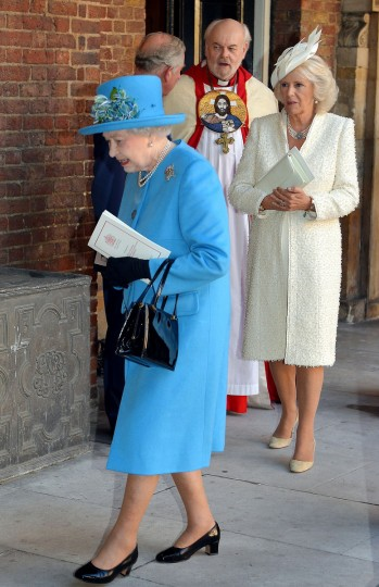 Queen Elizabeth II (L) and the Camilla, Duchess of Cornwall leave Chapel Royal in St James's Palace in central London following the Christening of Prince George of Cambridge. (Pool/Getty Images)