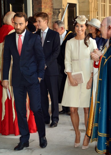Pippa and James Middleton (L) leave the Chapel Royal in St James's Palace in central London after attending the Christening of Prince George of Cambridge. Pippa Middleton, who had been wrongly tipped as a potential godparent, read a passage from the Bible at the low-key christening of Prince George. (Pool/Getty Images)