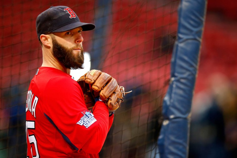 Dustin Pedroia #15 of the Boston Red Sox looks on before Game One of the World Series against the St. Louis Cardinals at Fenway Park on October 23, 2013 in Boston, Massachusetts. (Jared Wickerham/Getty Images)