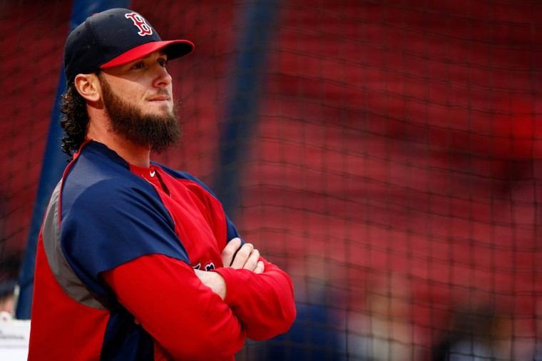 Jarrod Saltalamacchia #39 of the Boston Red Sox stands on the field before Game One of the World Series against the St. Louis Cardinals at Fenway Park on October 23, 2013 in Boston, Massachusetts. (Jared Wickerham/Getty Images)