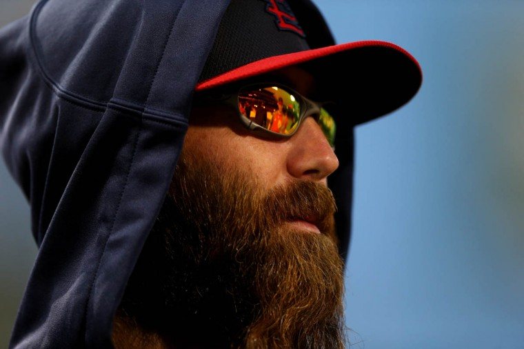 Jason Motte #30 of the St. Louis Cardinals looks on during batting practice before Game One of the World Series against the Boston Red Sox at Fenway Park on October 23, 2013 in Boston, Massachusetts. (Elsa/Getty Images)