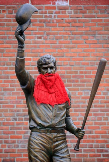 A statue is seen outside Fenway Park before Game One of the World Series between the Boston Red Sox and the St. Louis Cardinals on October 23, 2013 in Boston, Massachusetts. (Jamie Squire/Getty Images)