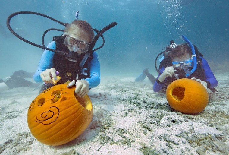 Two divers sculpt jack-o-lanterns during the Underwater Pumpkin Carving contest on October 19, 2013 in the Florida Keys National Marine Sanctuary off Key Largo. About 30 contestants competed in the offbeat event organized by the Amoray Dive Resort. (Bob Care/Getty Images)