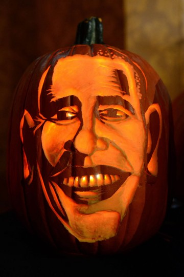 A pumpkin representing US President Barack Obama is on display at Madame Tussauds ahead of Halloween in New York on October 22, 2013. (/Emmanuel Dunand/Getty Images)