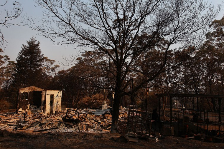 A home destroyed by bushfire as seen on October 21, 2013 in Yellow Rock, Australia. One man has died and hundreds of properties have been destroyed in bushfires that are devastating the Blue Mountains and Central Coast regions of New South Wales. (Lisa Maree Williams/Getty Images)