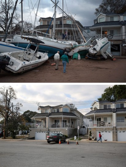 (top) Boats pushed up by Hurricane Sandy lie against residences near a marina on November 2, 2012 in the Staten Island borough of New York City. (bottom) A woman walks her dog near a marina on October 17, 2013 in the Staten Island borough of New York City. Hurricane Sandy made landfall on October 29, 2012 near Brigantine, New Jersey and affected 24 states from Florida to Maine and cost the country an estimated $65 billion. (Photos by John Moore/Getty Images)