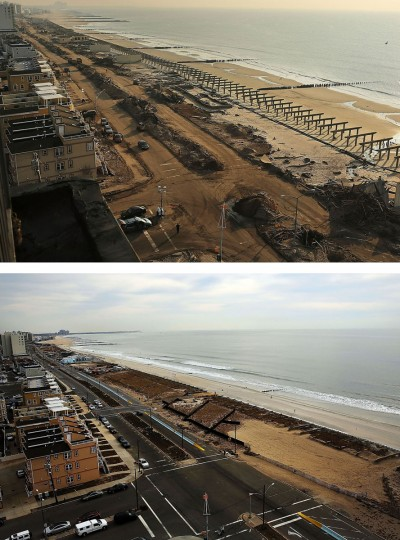 (top) Clean-up continues among piles of debris, where a large section of the iconic boardwalk was washed away November 10, 2012 in Rockaway neighborhood of the Queens borough of New York City. (bottom) Cars sit parked on the steet on October 19, 2013 in the Rockaway neighborhood of the Queens borough of New York City. Hurricane Sandy made landfall on October 29, 2012 near Brigantine, New Jersey and affected 24 states from Florida to Maine and cost the country an estimated $65 billion. (Spencer Platt/Getty Images)