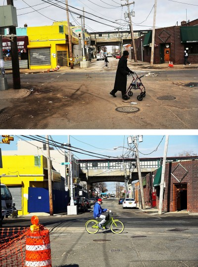 NEW YORK, NY - NOVEMBER 19: (top) A man walks through the heavily damaged section November 19, 2012 in the Rockaway neighborhood of the Queens borough of New York City. NEW YORK, NY - OCTOBER 23: (bottom) A man rids a bike October 23, 2013 in the Rockaway neighborhood of the Queens borough of New York City. Hurricane Sandy made landfall on October 29, 2012 near Brigantine, New Jersey and affected 24 states from Florida to Maine and cost the country an estimated $65 billion. (Spencer Platt/Getty Images)