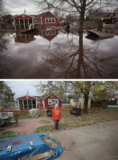 NEW YORK, NY - NOVEMBER 01: (top) Water continues to flood a neighborhood on November 1, 2012 in the Ocean Breeze area of the Staten Island borough of New York City. Most homes in the seaside community were inundated by the ocean surge caused by Superstorm Sandy. NEW YORK, NY - OCTOBER 17: (bottom) Janet Hague stands in her back yard on October 17, 2013 in the Ocean Breeze area of the Staten Island borough of New York City. Her home was heavily damaged by Sandy flood waters and after almost a year of renovations, she moved back in on October 15. Hurricane Sandy made landfall on October 29, 2012 near Brigantine, New Jersey and affected 24 states from Florida to Maine and cost the country an estimated $65 billion. (John Moore/Getty Images)