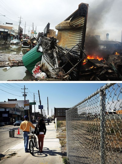 NEW YORK, NY - OCTOBER 30: (top) A fire burns near destroyed homes and businesses following Hurricane Sandy on October 30, 2012 in the Rockaway section of the Queens borough of New York City. NEW YORK, NY - OCTOBER 23: (bottom) Two people walk down a sidewalk past a now empty lot on October 23, 2013 in the Rockaway section of the Queens borough of New York City. Hurricane Sandy made landfall on October 29, 2012 near Brigantine, New Jersey and affected 24 states from Florida to Maine and cost the country an estimated $65 billion. (Spencer Platt/Getty Images)