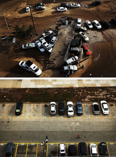 NEW YORK, NY - NOVEMBER 02: (top) Abandoned and flooded cars are sit after Hurricane Sandy on November 2, 2012 in the Rockaway neighborhood, of the Queens borugh of New York City. NEW YORK, NY - OCTOBER - 20: (bottom) Cars sit in a parking lot on October 20, 2013, 2012 in the Rockaway neighborhood, of the Queens borugh of New York City. Hurricane Sandy made landfall on October 29, 2012 near Brigantine, New Jersey and affected 24 states from Florida to Maine and cost the country an estimated $65 billion. (Spencer Platt/Getty Images)