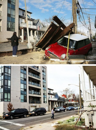 NEW YORK, NY - OCTOBER 31: (top) A woman looks at a damaged car, after Hurricane Sandy October 31, 2012 in the Queens borough of the Queens borough of New York City. NEW YORK, NY - OCTOBER 20: (bottom) A man walk down a steet on October 20, 2013 in the Queens borough of the Queens borough of New York City. Hurricane Sandy made landfall on October 29, 2012 near Brigantine, New Jersey and affected 24 states from Florida to Maine and cost the country an estimated $65 billion. (Spencer Platt/Getty Images)