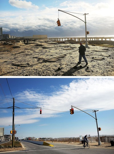 NEW YORK, NY - OCTOBER 31: (top) A man walks by the remains of part of the historic boardwalk, after large parts of it were washed away during Hurricane Sandy on October 31, 2012 in the Rockaway neighborhood of the Queens borough of New York City. NEW YORK, NY - OCTOBER 23: (bottom) A person rides a bike October 23, 2013, in the Rockaway neighborhood of the Queens borough of New York City. Hurricane Sandy made landfall on October 29, 2012 near Brigantine, New Jersey and affected 24 states from Florida to Maine and cost the country an estimated $65 billion. (Spencer Platt/Getty Images)