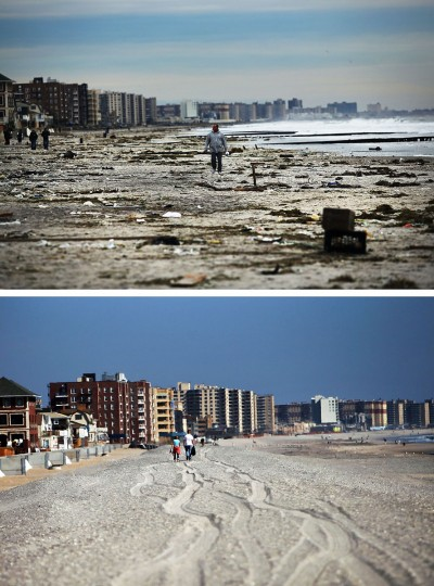 NEW YORK, NY - NOVEMBER 2: (top) A man walks along the heavily damaged beach on November 2, 2012 in Rockaway neighborhood of the Queens borough of New York City. NEW YORK, NY - OCTOBER 23: (bottom) People walk down the beach on October 23, 2013 in Rockaway neighborhood of the Queens borough of New York City. Hurricane Sandy made landfall on October 29, 2012 near Brigantine, New Jersey and affected 24 states from Florida to Maine and cost the country an estimated $65 billion. (Spencer Platt/Getty Images)
