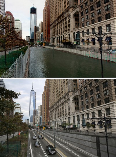 NEW YORK, NY - OCTOBER 30: (top) Hugh L. Carey Tunnel sits flooded after a tidal surge caused by Hurricane Sandy, on October 30, 2012 in New York City. (Allison Joyce/Getty Images) NEW YORK, NY - OCTOBER 22: (bottom) Traffic passes from Manhattan into the Hugh L. Carey Tunnel on October 22, 2013 in New York City. Hurricane Sandy made landfall on October 29, 2012 near Brigantine, New Jersey and affected 24 states from Florida to Maine and cost the country an estimated $65 billion. (John Moore/Getty Images)